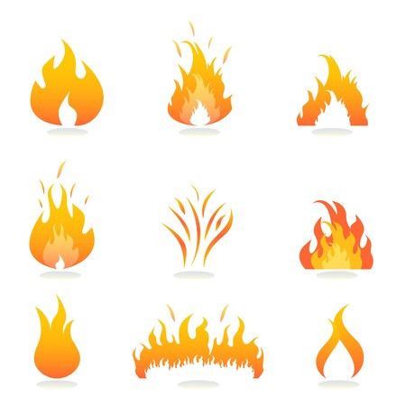 flammable warning: Flames and fire signs and symbols