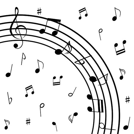 eight note: Various musical notes on stave Stock Photo
