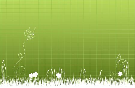 tall grass: Thick tall grass with bee and butterfly Stock Photo