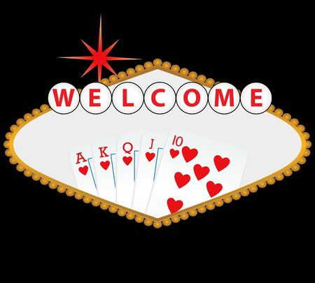 flush: Welcome to Las Vegas sign with royal flush Stock Photo