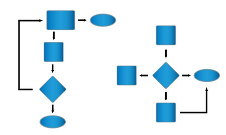 Two diifferent database diagrams or flowchart Stock Photo - 7587622
