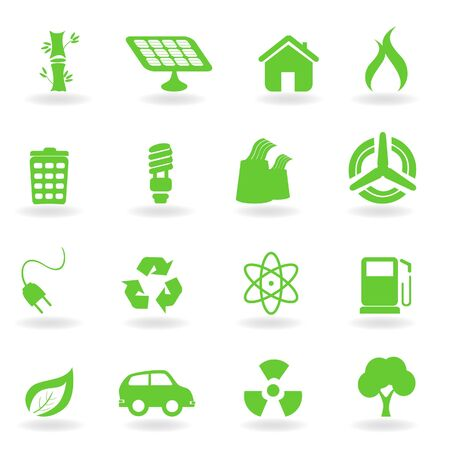 eco car: Milieu- en milieu gerelateerde symbolen icon set  Stockfoto