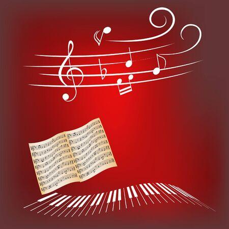 Piano keys, sheet music and music notes photo