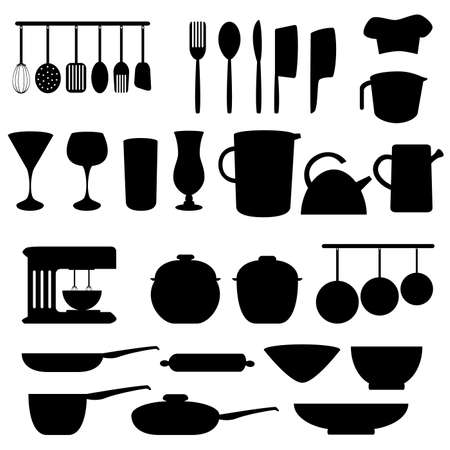 Kitchen utensils and tools in gray