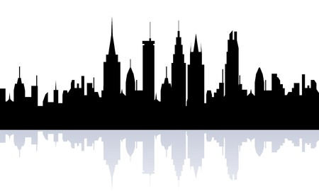 city building: Big city skyline silhouette view