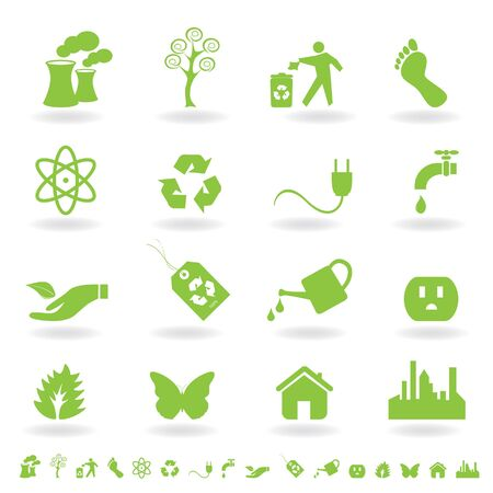 carbon footprint: Eco friendly icon set in green Stock Photo