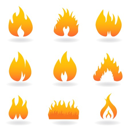 symbols: Various flame and fire symbols icon set