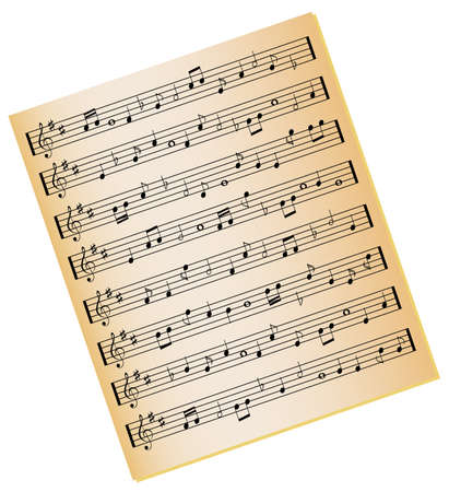 music: Sheet music on gold color paper
