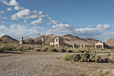 An abandoned old ghost town in the west photo