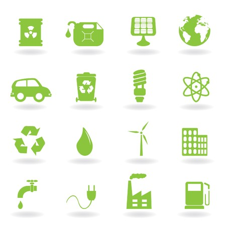 energy buttons: Environment and eco related symbols Stock Photo