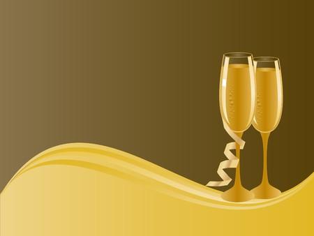 champagne celebration: Pair of champagne glasses for celebration