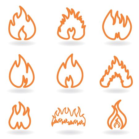 Flame and fire symbols Imagens