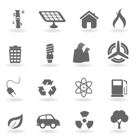 Ecologie pictogrammen set in grijswaarden  Stockfoto