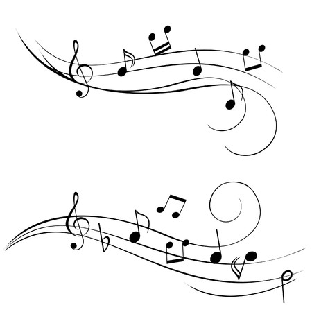Various music notes on stave photo