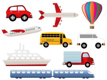 Transportation related symbols icon set