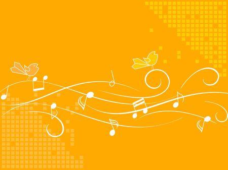 crotchets: Birds singing on a stave