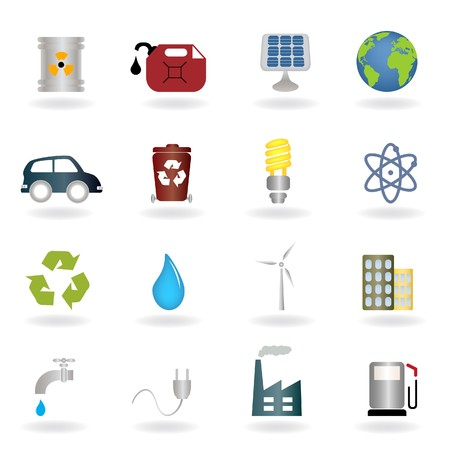 Environmental and ecologic symbols icon set photo