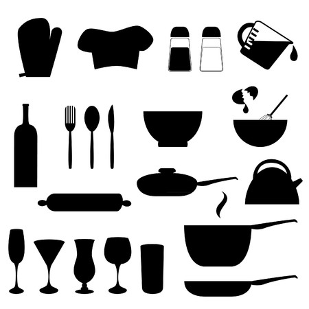 measuring spoons: Various kitchen utensils in silhouette