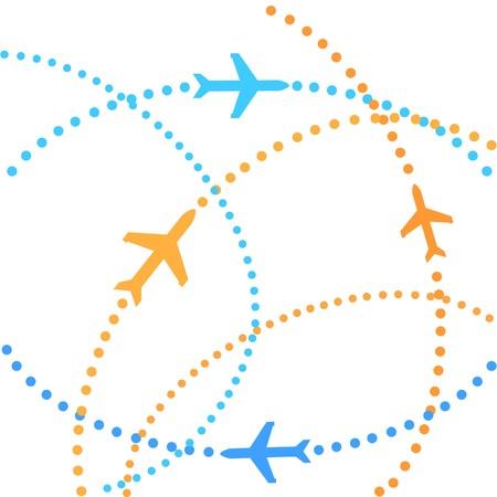 Vlieg tuigen op hun bestemming routes  Stockfoto