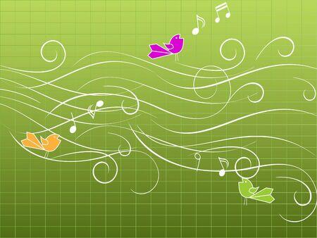 Aves musicales cantando en madera  Foto de archivo - 8004707