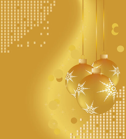 Gold Christmas ornaments on shiny background Ilustrace