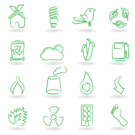 Eco related symbols and icons Stock Vector - 8106877