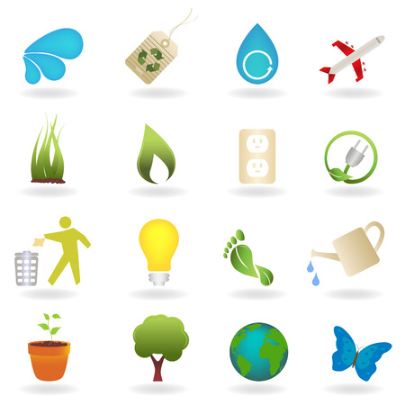 outlet: Clean environment related icon set Illustration