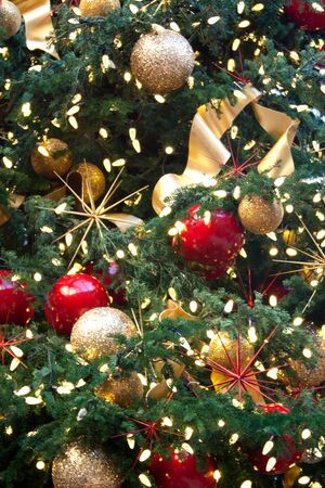 Decorated Christmas tree with beautiful ornaments