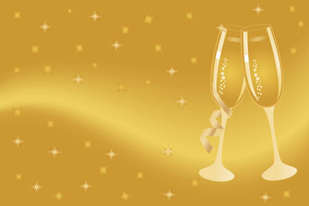 gold flute: Champagne flutes for New Year or anniversary celebration