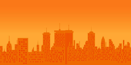 Big city skyline at sunset Stock Vector - 8106880