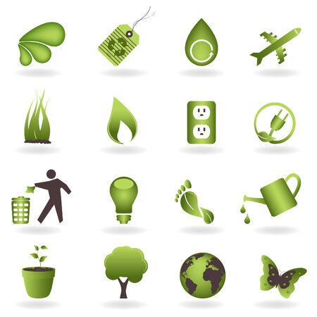Eco gerelateerde symbolen en pictogrammen  Stock Illustratie