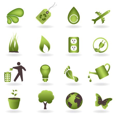 carbon footprint: Eco related symbols and icons