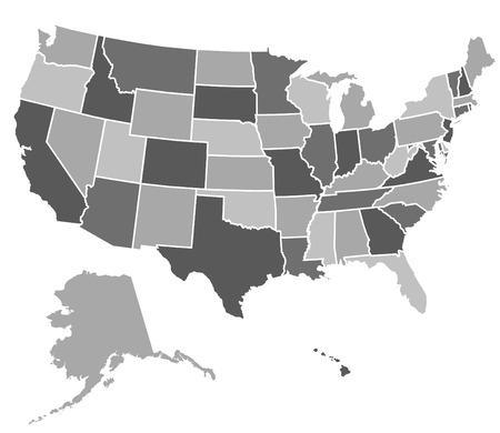 Kaart van de Verenigde Staten van Amerika  Stock Illustratie