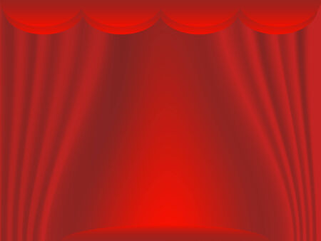 Theater stage with red curtains  イラスト・ベクター素材