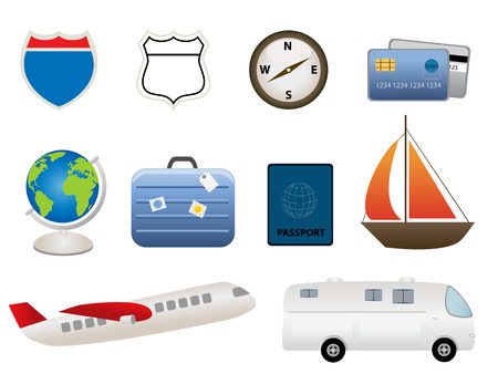 Travel and tourism related items 向量圖像