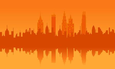 Big city urban skyline at sunset