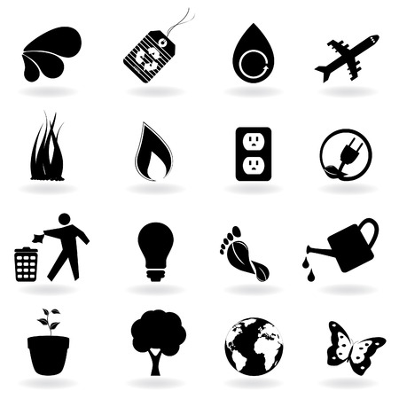 Eco and environment icons in black Stock Vector - 8193433