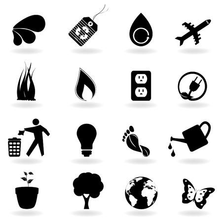 Icônes ECO et environnement en noir Banque d'images - 8193433