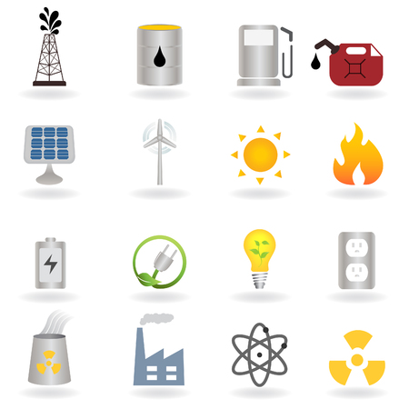 energy buttons: Clean alternative energy and environment symbols Illustration