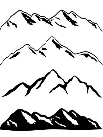 Différents monts avec bouchons de neige