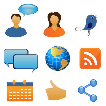Sociale net werk en communicatie symbolen Stock Illustratie