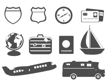 Tourism, travel and vacation symbols
