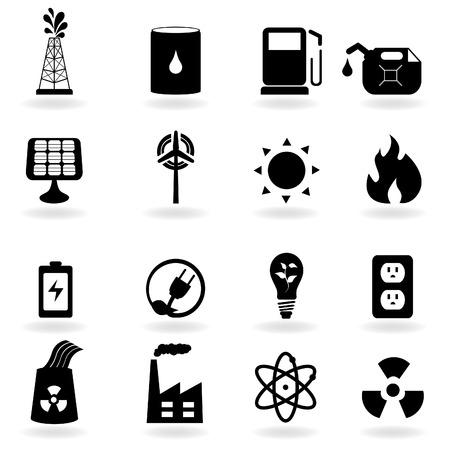 nuclear symbol: Iconos de eco para energ�a limpia y medio ambiente Vectores
