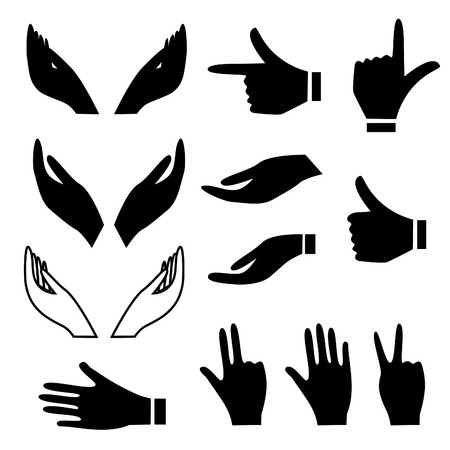 pointing hand: Various hand signs and gestures