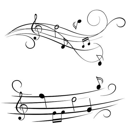 clef de fa: Notes de musique sur stave Illustration