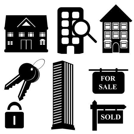 Real estate and housing symbols and icons Vector