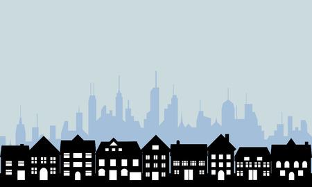 교외 주택 및 대도시 일러스트