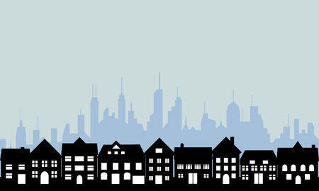 Suburban homes and big city Vector