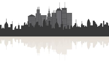 Big city skyline with building reflections Stock Vector - 8295044