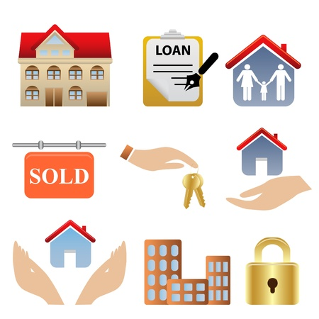 property for sale: Real estate related icons and symbols Illustration